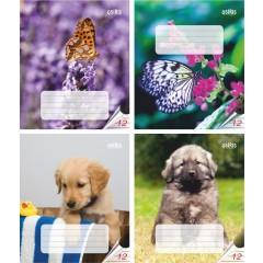 Vihik 12 lehte joon, liblikas, koer