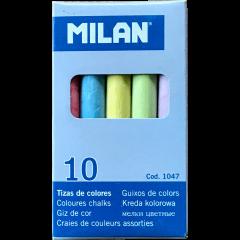 Tahvlikriit värviline MILAN, ümar, 10 tk pakis