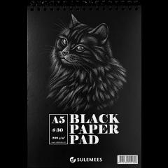 Sketch pad A5, 200 g, 30 musta lehte, spiraalköide
