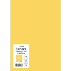 Kartong Bristol A4/200gr, päikesekollane (53), 20 lehte pakis