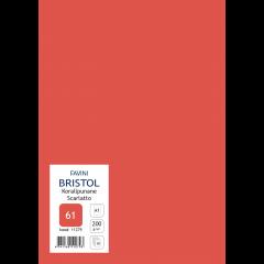 Kartong Bristol 60,5x85cm/200gr, korallpunane (61), 10 lehte pakis