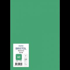 Kartong Bristol 60,5x85cm/200gr, roheline (60), 10 lehte pakis