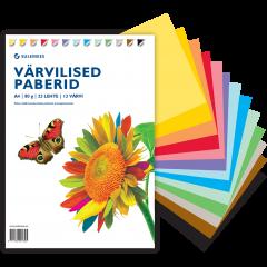 Värvilised paberid A4 80 g, 23 lehte, 13 värvi