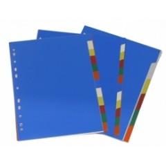 Vahelehed College A4 1-10 plastik värviline (numbriteta)