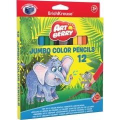 Värvipliiatsid kolmnurkne Artberry JUMBO, 12 värvi + teritaja
