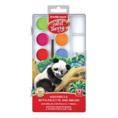 Akvarellvärvid ArtBerry UV kindel, 12 värvi, paleti ja pintsliga