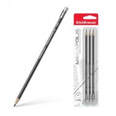 Harilik pliiats kummiga Megapolis 3tk blistris