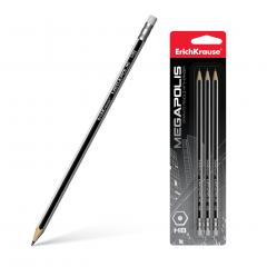 Harilik pliiats kummiga MEGAPOLIS HB, 3tk riputuspakis