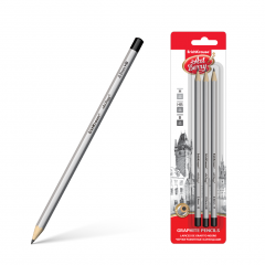 Harilik pliiats kummita ARTBERRY (H,HB,B) 3tk riputuspakis