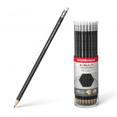 Harilik pliiats kummiga JET BLACK 101 HB, 42tk plasttopsis