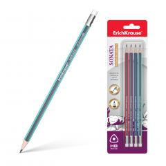 Harilik pliiats kolmnurkne SONATA HB kummiga, 4tk riputuspakis