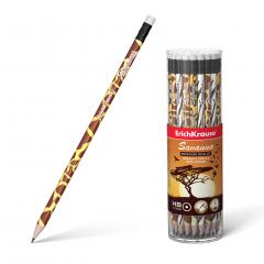Harilik pliiats ümar kummiga SAVANNAH HB, 42tk plasttopsis