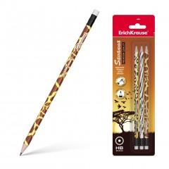 Harilik pliiats kummiga SAVANNAH HB 3tk blistris