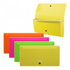 Lõõtsmapp A65 Check size Diagonal Neon, 12 taskut, 4värvi assortii