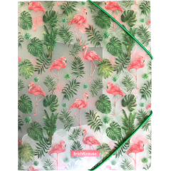 Nurgakummiga plastmapp A5+ Tropical Flamingo