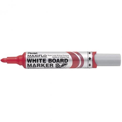 Valge tahvli marker MAXIFLO kooniline punane