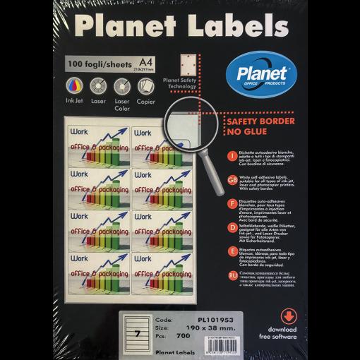 Etikett A4 Planet 190 x 38 mm, 100 lehte, 7tk lehel