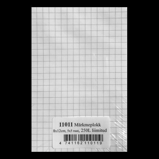 Märkmeplokk 80x120 mm, 5x5 ruut, 250 lehte, liimitud