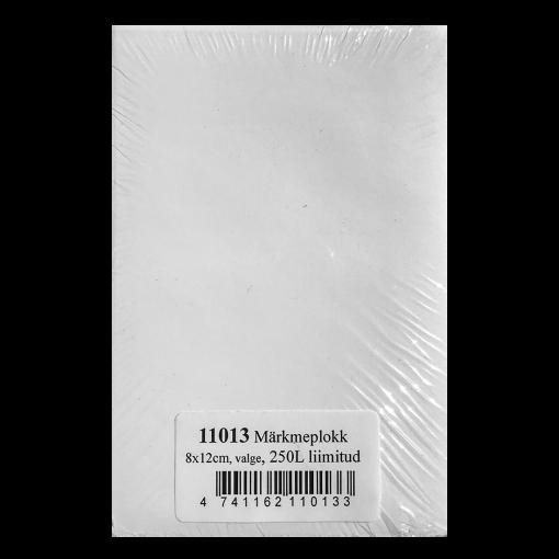 Märkmeplokk 80x120 mm, valge, 250 lehte, liimitud
