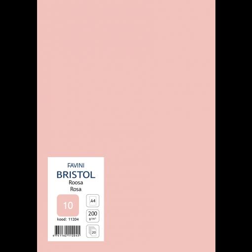 Kartong Bristol A4/200gr, roosa (10), 20 lehte pakis