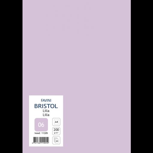 Kartong Bristol A4/200gr, lilla (06), 20 lehte pakis