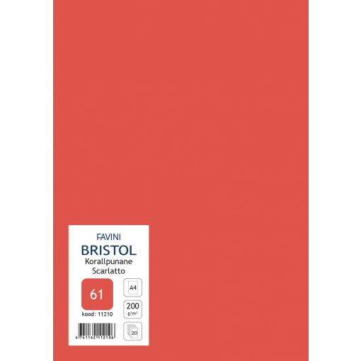 Kartong Bristol A4/200gr, korallpunane (61), 20 lehte pakis