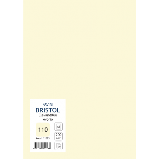 Kartong Bristol A3/200gr, elevandiluu (110), 20 lehte pakis