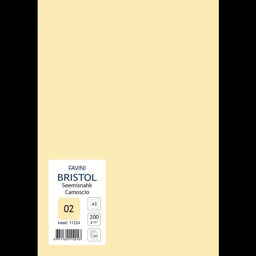 Kartong Bristol A3/200gr, seemisnahk (02), 20 lehte pakis