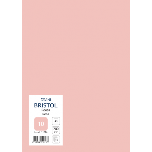 Kartong Bristol A3/200gr, roosa (10), 20 lehte pakis