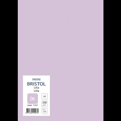 Kartong Bristol A3/200gr, lilla (06), 20 lehte pakis