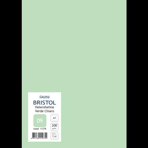 Kartong Bristol 60,5x85cm/200gr, heleroheline (09), 10 lehte pakis