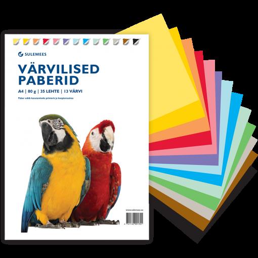 Värvilised paberid A4 80 g, 35 lehte, 13 värvi