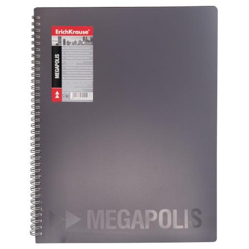Menüükaaned spiraalis MEGAPOLIS A4, 20taskut, must