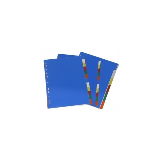 Vahelehed College A4 1-12 plastik värviline