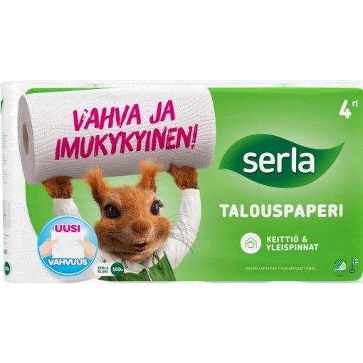 Majapidamispaber Serla Orava 4rulli pakis, 2kihiline, valge