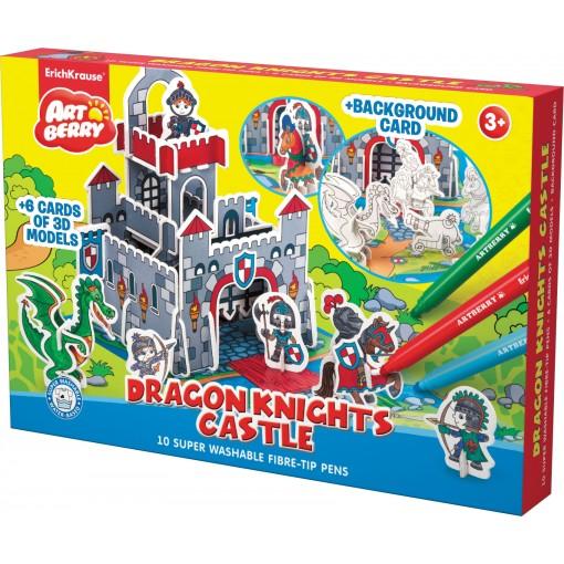 3D puzzle Dragon Knights Castle/Artberry 10viltpliiatsit+6 värvilehte