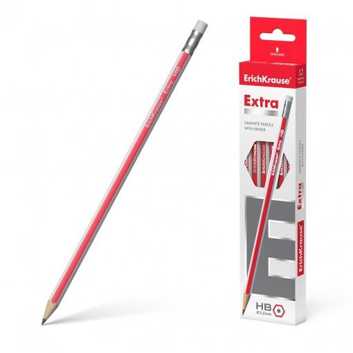 Harilik pliiats kolmnurkne kummiga EXTRA HB, 3tk riputuspakis