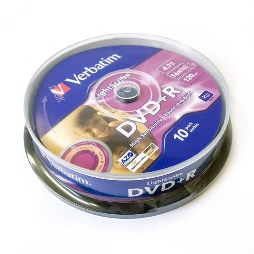 DVD+R Verbatim 16x spindel (10) Lightscribe 10tk karbis