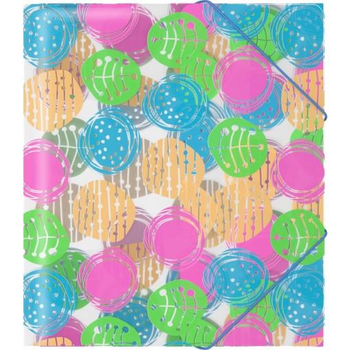 Nurgakummiga plastmapp A5+ BUTTONS