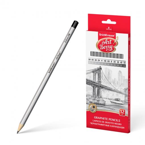 Harilik pliiats kummita ARTBERRY (5H-5B), 12tk