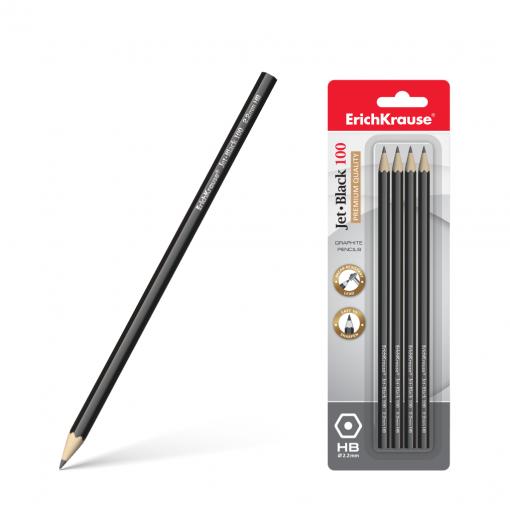 Harilik pliiats kummita JET BLACK 100 HB, 4tk riputuspakendis