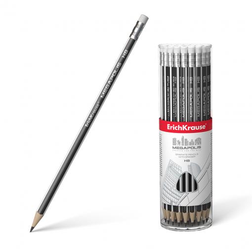 Harilik pliiats kummiga MEGAPOLIS HB, kolmnurkne 42tk plasttopsis