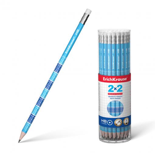 Harilik pliiats ümar kummiga 2x2 HB, 42tk plasttopsis