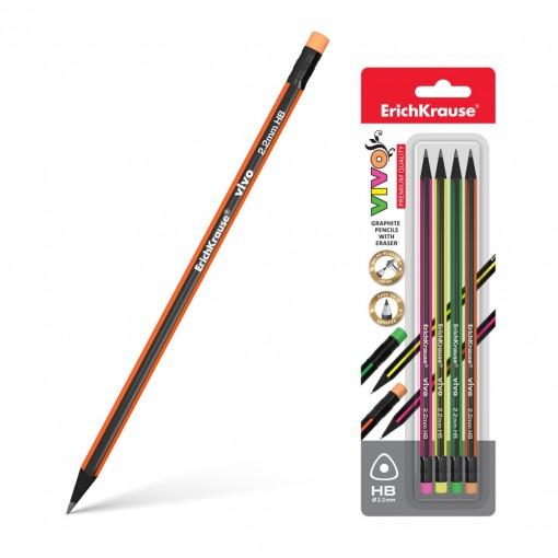 Harilik pliiats kolmnurkne kummiga VIVO HB, 4tk riputuspakis