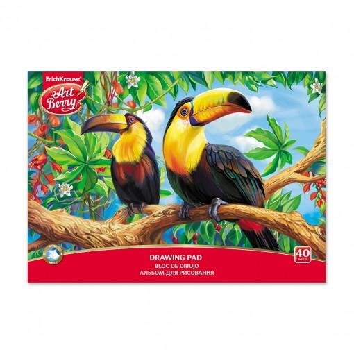Joonistusplokk A4 EXOTIC BIRDS, 120gr/40 lehte