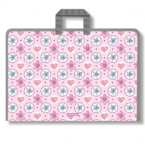 Plastmapp ringluku ja sangadega A3 Pink Flowers