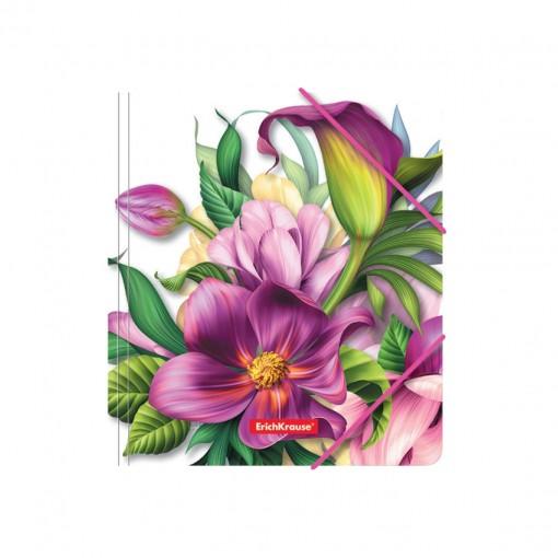 Nurgakummiga plastmapp A5+ Tropical Flowers