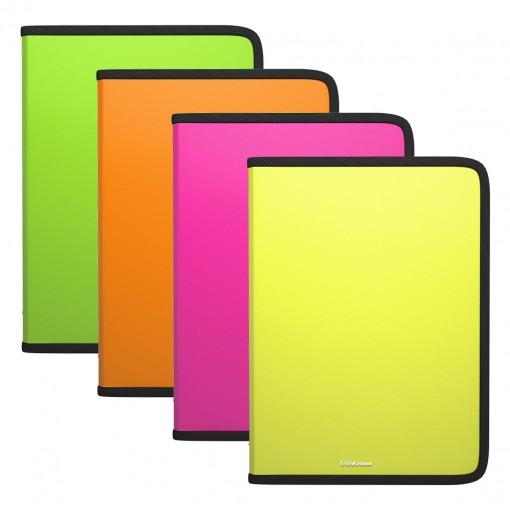 Plastmapp ringlukuga A4 Diagonal Neon, 4värvi assortii