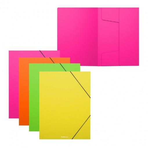 Nurgakummiga plastmapp A5+ Matt Neon, 4värvi assortii