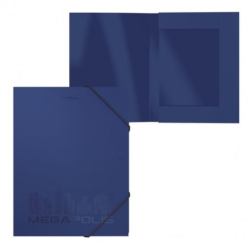 Nurgakummiga plastkarp A4 (selg 30mm) MEGAPOLIS, sinine